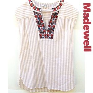 Madewell Striped Belize Embroidered tunic/coverup